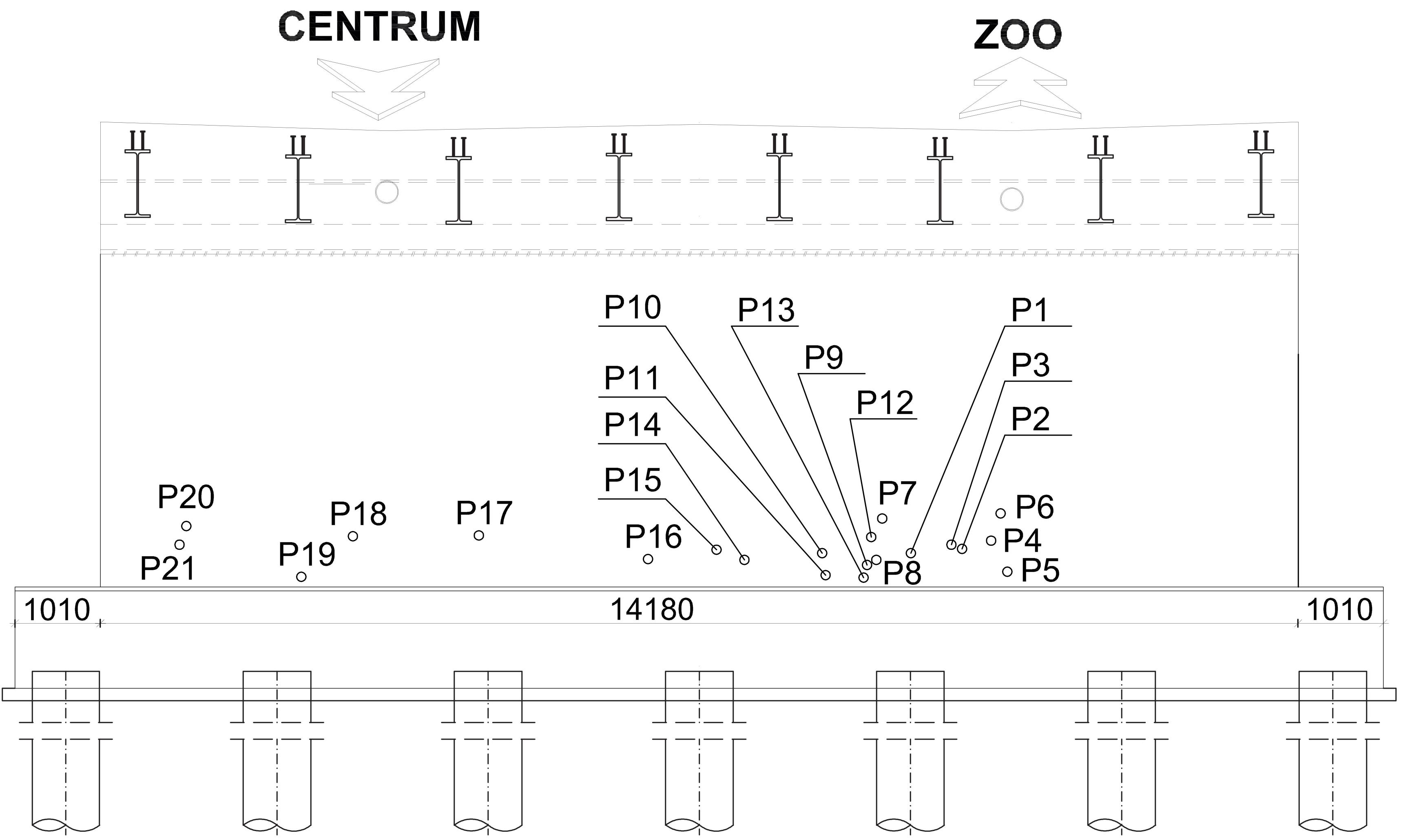Schemat rozmieszczenia punktów pomiarowych na przyczółku od strony ZOO.